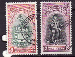St Vincent-Sc#174-5-used University Issue set-1951-