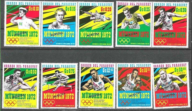 PARAGUAY 1971 SPORT OLYMPICS MUNCHEN 72 SPECIMEN MUESTRA VARIETY Mi 2139-48 MNH