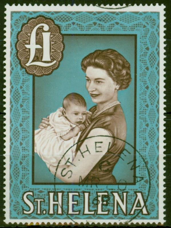 St Helena 1965 Chocolate & Light Blue SG189a Chalk Paper Superb Used