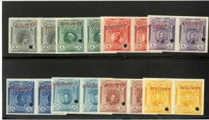 Peru Stamps # 177-84 Imperf Specimen Pairs