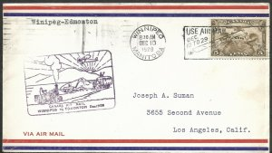 Doyle's_Stamps: Canadian Postal History: Winnipeg-Edmonton 1st Flight Cover