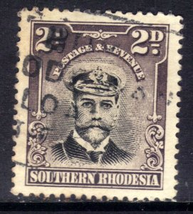 Southern Rhodesia 1924 - 29 KGV 2d Black & Purple Grey used SG 4 ( D1143 )