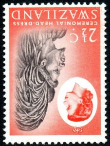 1962 Swaziland Sg 93w 2½c black and vermillion Inverted Watermark Unmoun