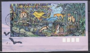 Australia, Scott cat. 1622a. Nocturnal Animals & Owl issue. First day cover. ^