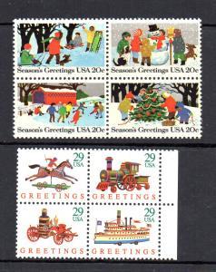 Two Christmas se-tenant Blocks of 4 Mint NH