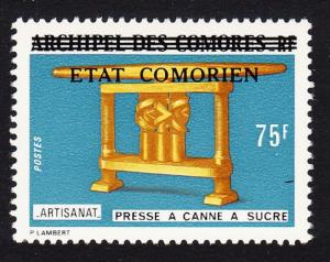 Comoro Is. Overprint 'Etat Comorien' on 75 Fr Sugar Press SC#149 MI#200