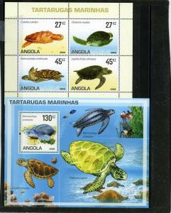 ANGOLA 2007 Sc#1316-1317 SEA TURTLES SHEET OF 4 STAMPS & S/S MNH