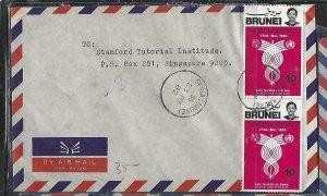 BRUNEI  (P3008B)   1982 TELECOM, UN 10SX2 A/M SERIA TO SINGAPORE