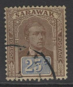 SARAWAK SG59 1918 25c BROWN & BRIGHT BLUE FINE USED
