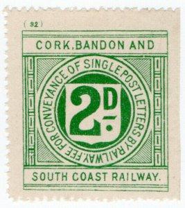(I.B) Cork Bandon & South Coast Railway : Letter Stamp 2d (plate 92)