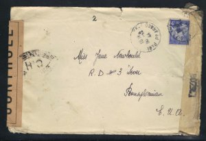 France NY 1944 Censored 4fr Stamp Cover with War Time Letter & Fancy Cancels  F