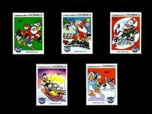 DOMINICA - 1984 - DISNEY - DONALD DUCK - CHRISTMAS - SANTA - TRAIN 5 X MNH SET!