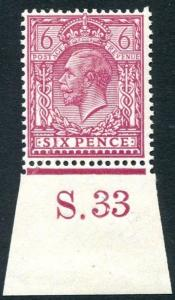 1924  6d Purple (O) S.33 (I) Control Single UNMOUNTED MINT V80640