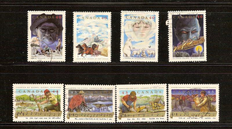 CANADA SET OF CANADIAN FOLKLORE (8) USED STAMPS  LOT#97