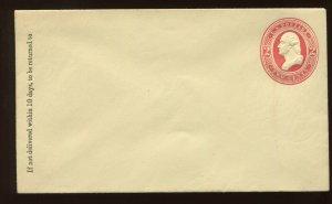 Scott U244 Washington '2 Links' Variety Stamped Envelope Entire (Stock U244-1)