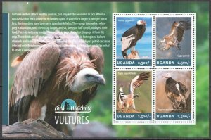 UG018 2014 UGANDA BIRDS OF PREY VULTURES BIRD WATCHING FAUNA #3255-3258 MNH