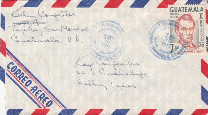 Guatemala C371 Used On Airmail Cover