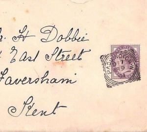 HL547 1891 GB SQUARED CIRCLES Superb *Paddington.W* Penny Lilac Cover Faversham