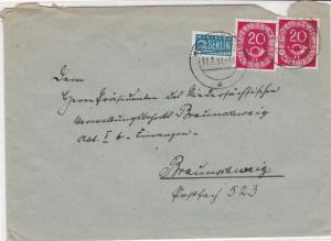 Germany 1951 Obligatory Tax Aid For Berlin Woltwiesche Cancel Stamps Cover 24169