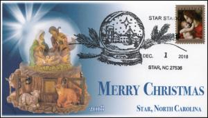 18-339, 2018, Christmas, Pictorial Postmark, Event Cover, Star NC