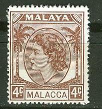 Malaya-Malacca # 31 Queen Elizabeth, 4c   (1)  Mint NH