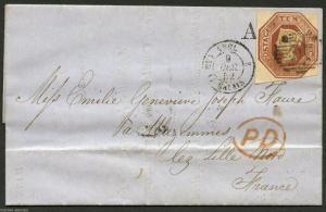 GREAT BRITAIN SC# 6 NUMERAL GRID CANCEL VIA CALAIS 12/9/1852 TO LILLE FRANCE