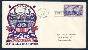 UNITED STATES FDC 3¢ Transcontinental Rail Road 1944 Staehle