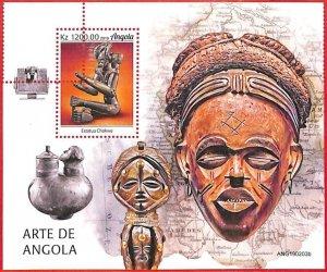 A1562 - ANGOLA - ERROR: MISSPERF  SHEET - 2019, African art, artcrafts, masks