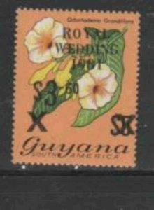 GUYANA #334 1981 3.60 on 5.00 FLOWER MINT VF NH O.G