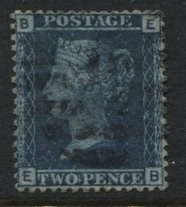 1858 2d Blue Plate 12 EB, a superb perfectly centred used example