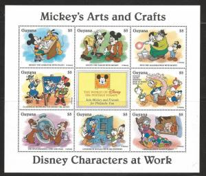 Guyana-Disney Mickey's Arts and Crafts - VF NH 8 Stamps