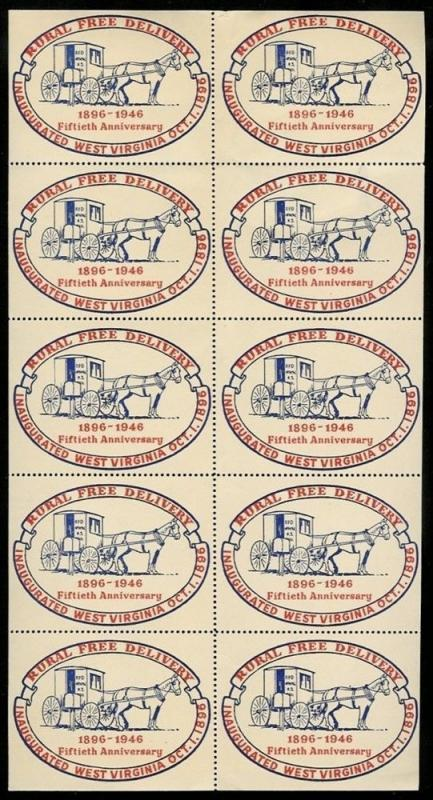 US 1946 West Virginia Rural Free Delivery Poster Stamps