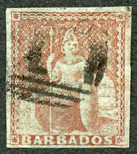 BARBADOS SG5 1852 4d Brownish Red (worn plate) on Blued Paper 4 Margins Cat 275