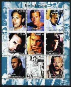 Turkmenistan 2000 Kevin Costner perf sheetlet containing ...