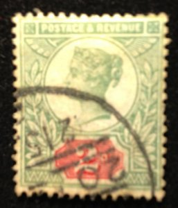 Great Britain (1887) Used Scott 113a Gibbons Green & Vermilion Variety Sg199 VF