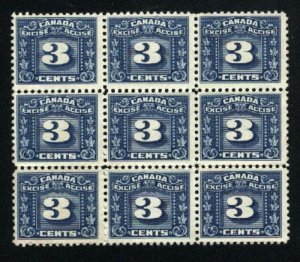 Canada 3 cent excise Block of 9   Mint NH  PD