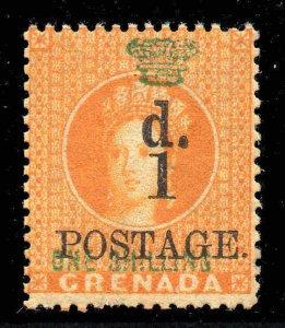 Grenada 1886 1d on 1/- orange SG 38 mint.
