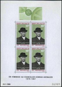Senegal C61a sheet,hinged.Mi Bl.4. Konrad Adenauer,chancellor of Germany,1968.