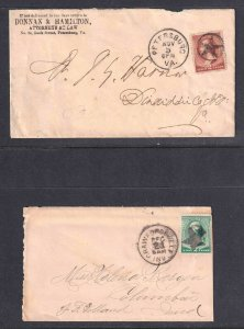 USA 19TH CENTURY POSTAL HISTORY COVERS x2 STAR CANCELS