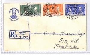 KENYA FDC First Day Cover Nairobi Registered Mombasa 1937 {samwells-covers}BN316