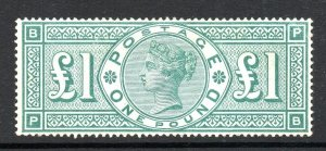 GB QV SG212 £1 Green Fine Mint Very Lightly Hinged Cat £4,000