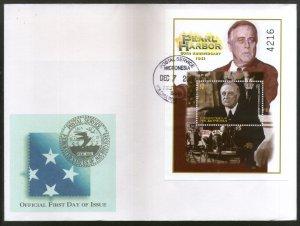 Micronesia 2001 Pearl Harbor US President Franklin Roosevelt Sc 481 M/s FDC # 93