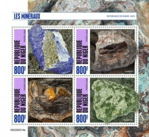 Niger - 2020 Minerals on Stamps - 4 Stamp Sheet - NIG200214a
