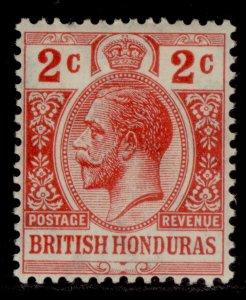 BRITISH HONDURAS GV SG102, 2c red, LH MINT.