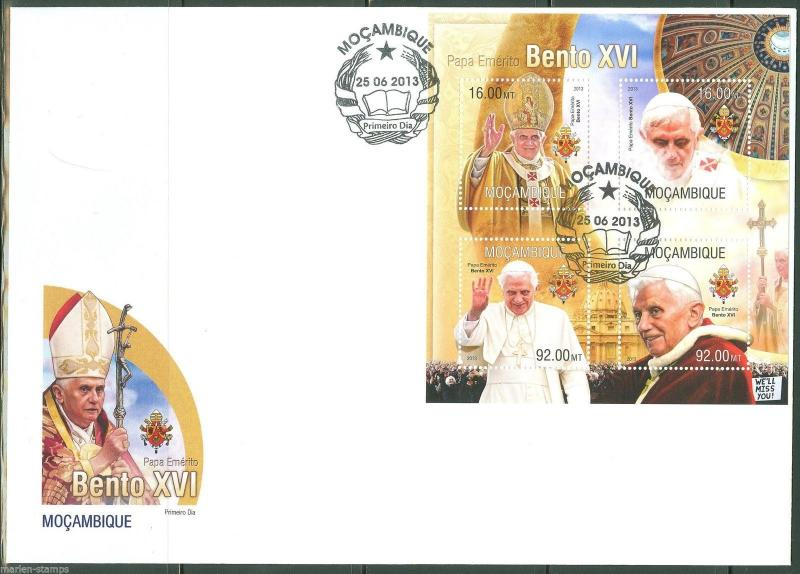 MOZAMBIQUE  2013 POPE BENEDICT XVI  SHEET FIRST DAY COVER