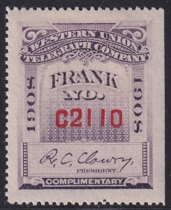 US STAMP BOB #16T39 – 1908 Clowry TELEGRAPH STAMP MH/OG