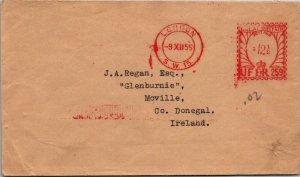 UK 1955 London > Moville Ireland ERII metered postage