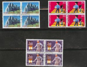 Switzerland Scott 507-509 used cto 1969 set  in blocks