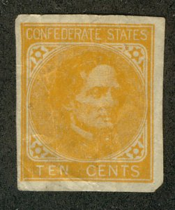 US #CONFEDERATE US #14 VF/XF used, four nice margins,  great color, creases, ...