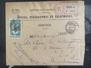 1921 Douala Cameron Registered Postal Service Cover To New York Usa